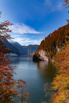 View over the Königssee in Berchtesgadener Land, Bavaria, Germany.