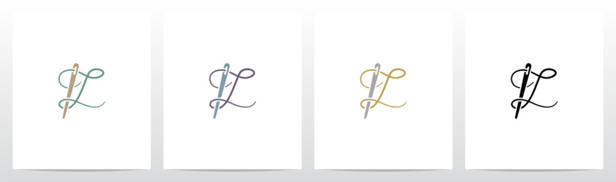 Thread And Needle Formed Letter Logo Design L