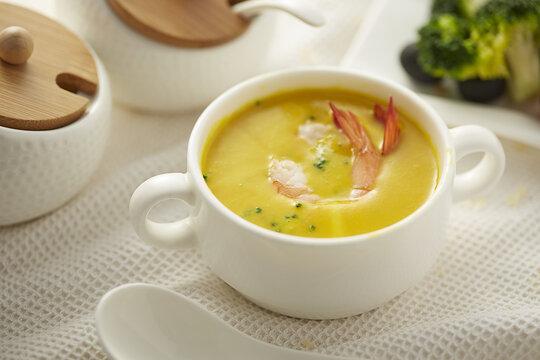 HD gourmet pumpkin shrimp soup photography map
