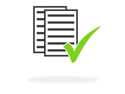 Papiere und grünes Häkchen als Symbol für Check, Prüfung oder Antrag