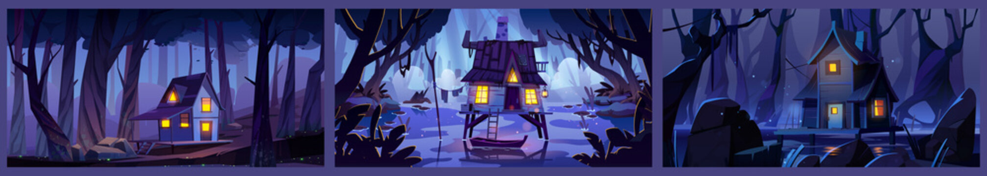 Wooden stilt houses on swamp in night forest. Backgrounds with old shacks with glow windows stand on piles in deep wood. Witch hut, computer game mystic nature landscape, Cartoon vector illustration