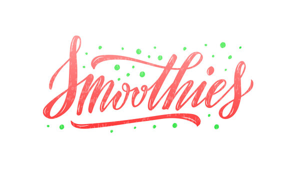 Vector illustration of smoothies lettering for banner, poster, signage, business card, product, menu design. Handwritten creative calligraphic text for digital use or print