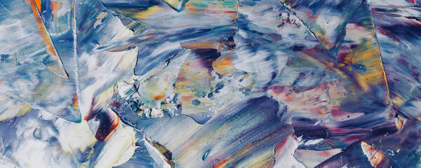 Colorful abstract painting background. . Fluid ink Color texture. Intensive multicolor mix of oil vibrant colors. Paint Brushstrokes on canvas for trendy poster wallpaper
