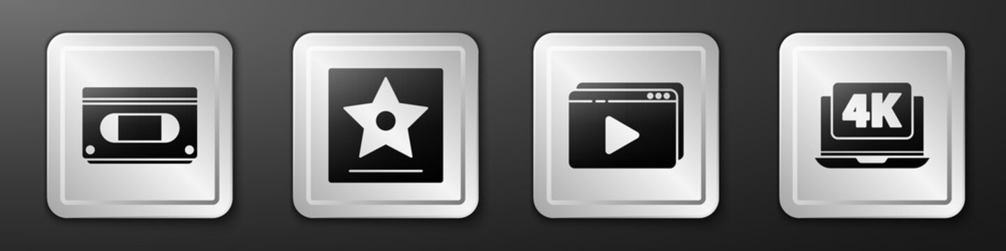 Set VHS video cassette tape, Hollywood walk of fame star, Online play video and Laptop with 4k video icon. Silver square button. Vector.