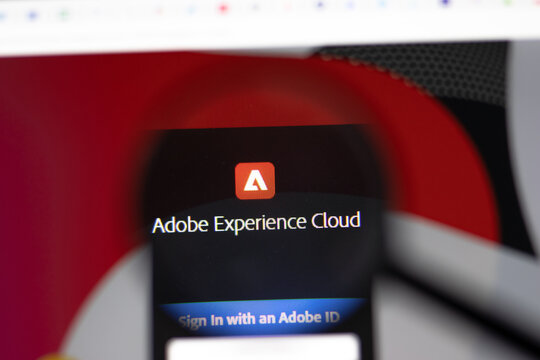 New York, USA - 15 February 2021: Adobe Experience Cloud website in browser with company logo, Illustrative Editorial.