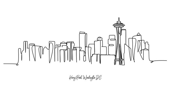 Kerry Park Washington DC city of the USA skyline - Continuous one line drawing