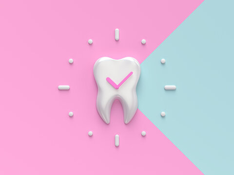 Teeth with clock. Concept Dental care cleaning bacterial plaque on a pink and blue pastel background. Minimal flat lay. 3d render