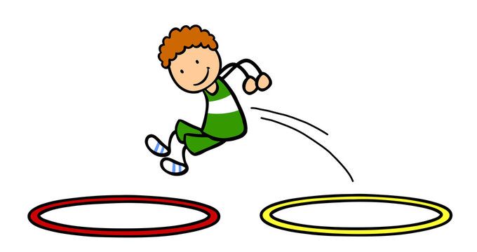 Junge hüpft durch Gymnastikreifen beim Kinderturnen