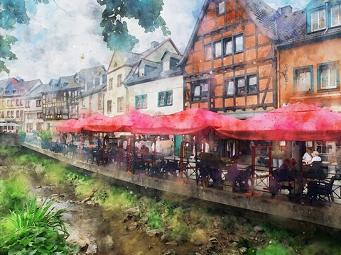 Watercolor painting of cityscape of Bad Muenstereifel in Germany.