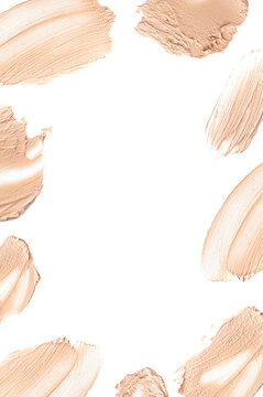 Frame from foundation smears, bb cream for makeup isolated on white background. Foundation face make-up samples, texture of face concealer. Make up smears, cosmetic, foundation colors palette Mock up
