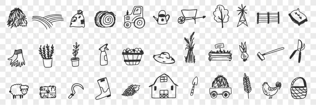 Farming tools and equipment doodle set. Collection of hand drawn tractor hay farm animals house basket harvesting sheep plants watering can shovel boots for farming isolated on transparent background