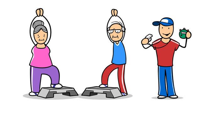Fitnesstrainer mit Paar Senioren bei Aerobic mit Steppbrett im Sportverein