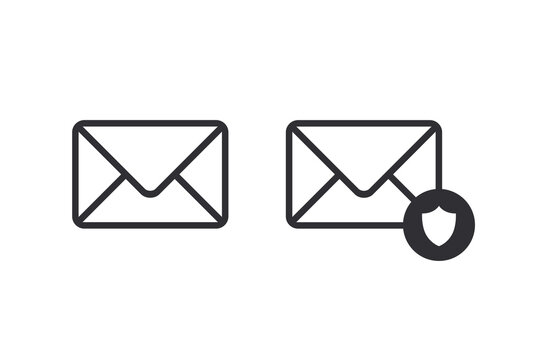 Mail icon. Envelope sign. Email icon. Letter. Mailbox. Contact form. Spam protection. Important message. Verified mail. Secure Correspondence. Virus protection. Shield icon. Protection icon. Mail.