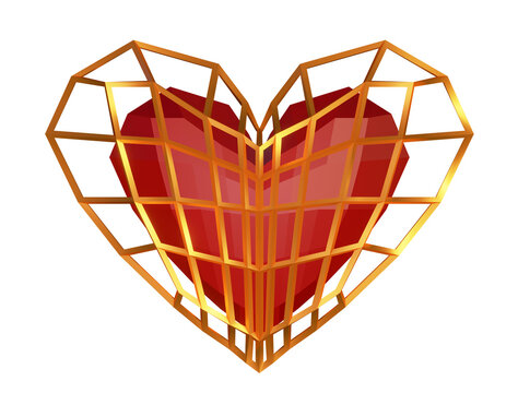 Red crystal heart in a cage. 3d illustration