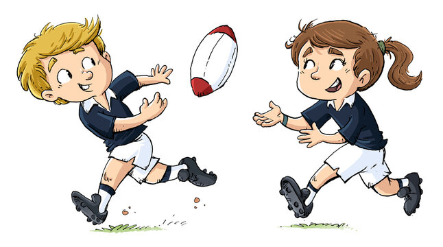 Girl and boy playing rugby