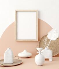 Fototapeta Mock up frame close up in home interior background, Boho style, 3d render