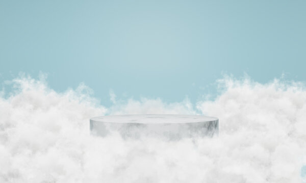 White marble podium with clouds around it. scene for showcase, Minimal design, 3D rendering