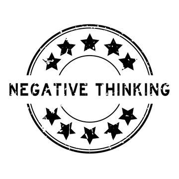 Grunge black negative thinking word with star icon round rubber seal stamp on white background
