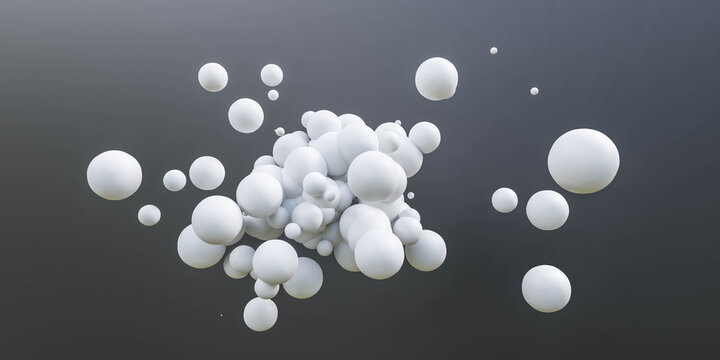 white ball spheres on dark black background 3d render illustration