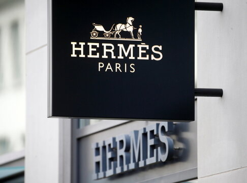 The logo of French luxury group Hermes is seen in Zurich