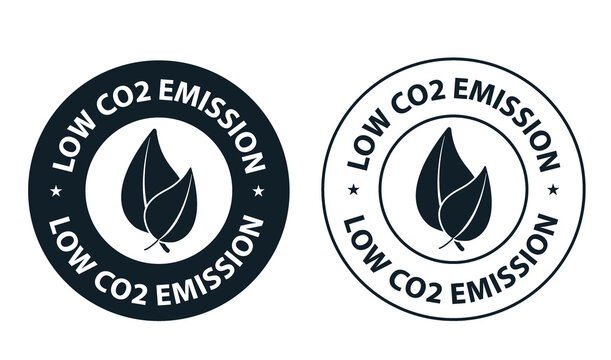 low carbon emission concept. low co2 vector icon with leaves