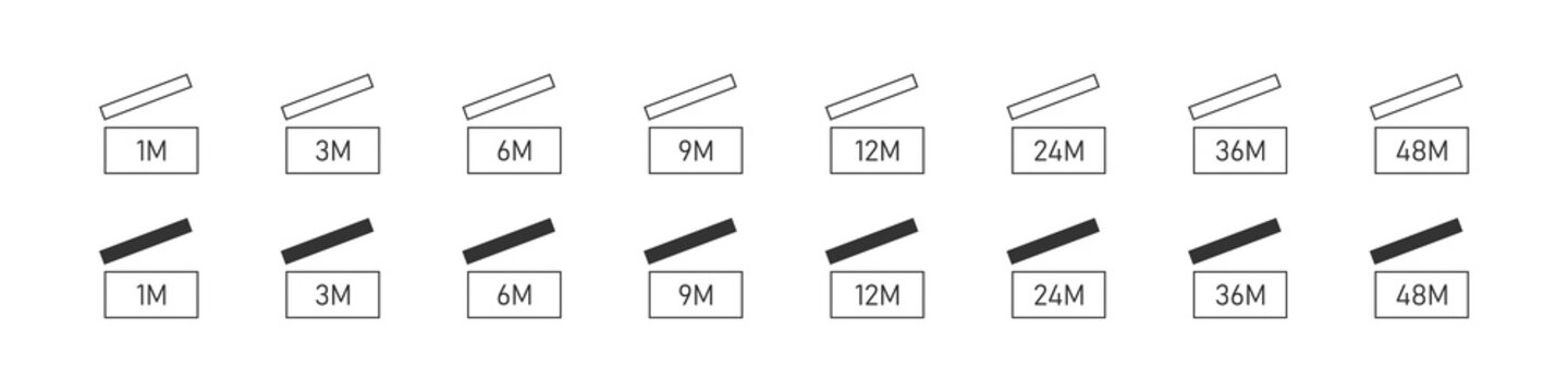 Period after opening. Expiration icons set. PAO icons. Expiration period in months icons for cosmetic packaging. Life months of open cosmetic. Vector illustration