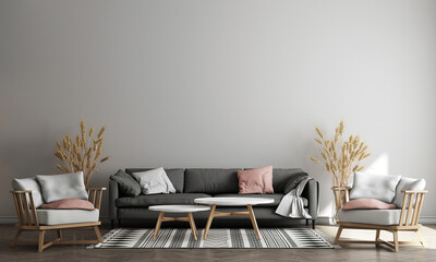 The minimal living room interior with tea table, plants and decor, Blue wall background. 3d render illustration mock up