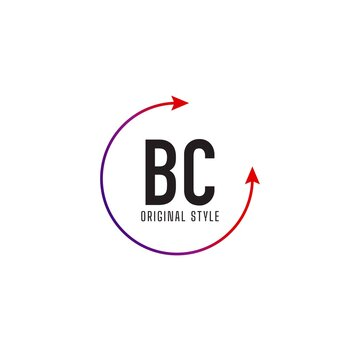 Initial Letter BC Circle Colorful Logo Design Template