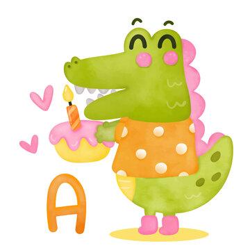 Cute alligator vector Animals alphabet for kids education(abc). Crocodile cartoon Funny hand drawn