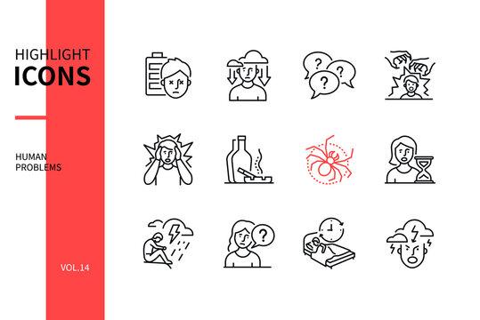 Human psychological problems - line design style icons set