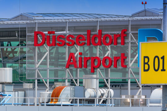 DUESSELDORF, NRW, GERMANY - JUNE 18, 2019: Logo of Duesseldorf Airport on terminal