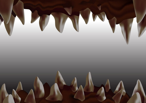 3d monster open mouth with crooked sharp teeth ready to bite, view from inside the cavity, vector illustration