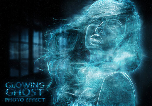 Ghost Glowing Blue Photo Effect Mockup