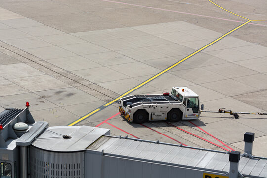 DUESSELDORF, NRW, GERMANY - JUNE 18, 2019: Various vehicles on the airfield of the airport Duesseldorf