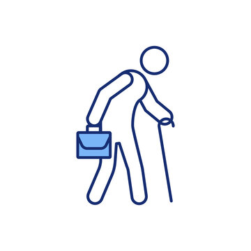 Employing older workers RGB color icon. Better conditions for aging workers. Difficulty finding jobs. Work-life balance. Age discrimination. Recruiting aging workforce. Isolated vector illustration