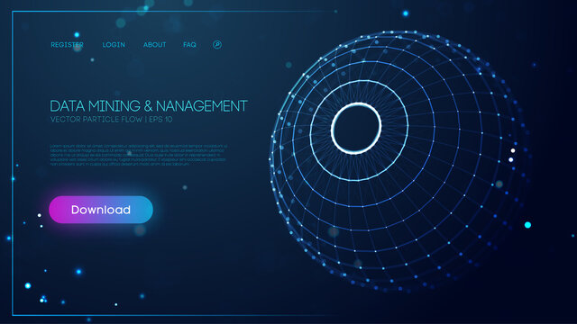 Technology sphere abstract background. Data mining and management. Finance concept business software blue technology background. Digital information network connection. Vector illustration EPS 10.