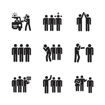 Racism icons set page
