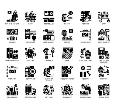 Set of Black Friday thin line and pixel perfect icons for any web and app project.