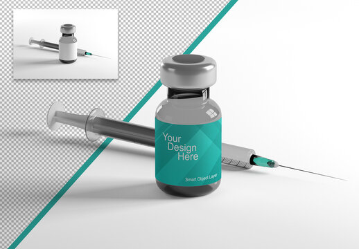 Mockup of a Vaccine Dose Container with Syringe