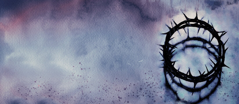 Lent Season, Holy Week, Good Friday concepts. Christian banner, watercolor