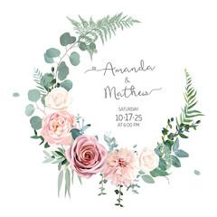 Fototapeta Greenery, pink and white peony, rose flowers vector design round invitation frame obraz