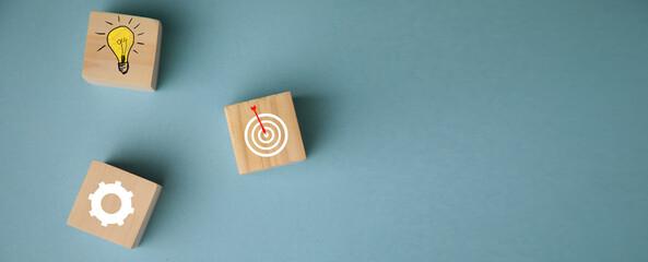 Obraz Goal Achievement Concept.Wooden Blocks - fototapety do salonu