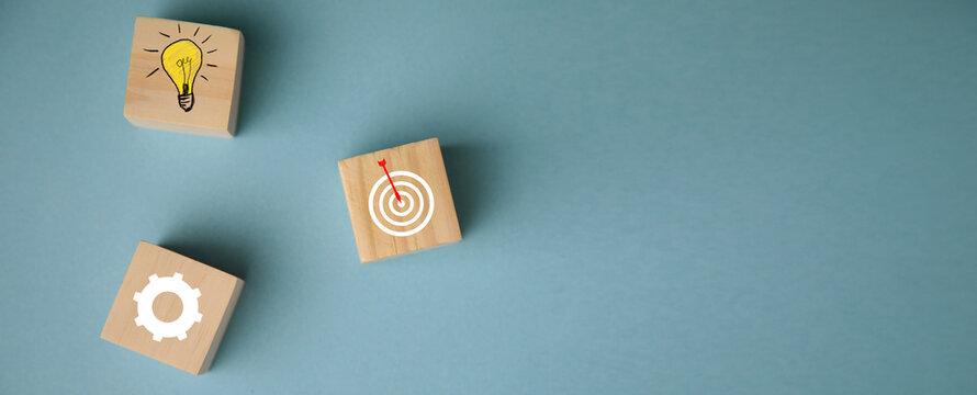 Goal Achievement Concept.Wooden Blocks