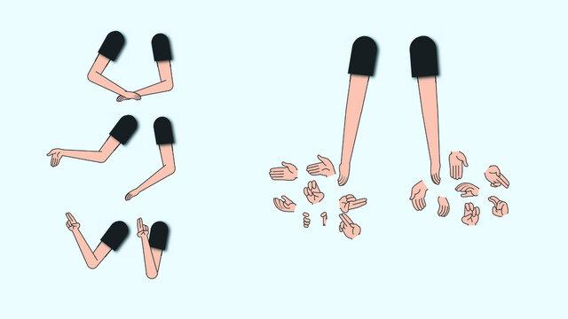 Manos de personaje cartoon para animación , distintas posiciones.