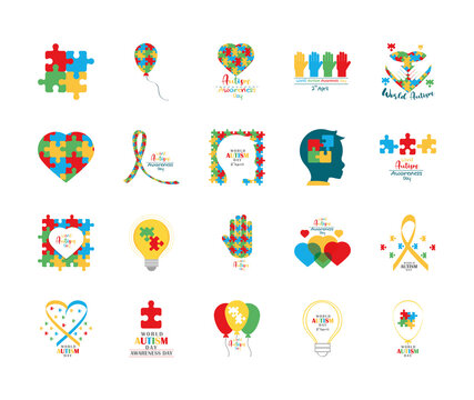 set autism awareness day, puzzles head child heart hand balloon ribbon and bulb icon