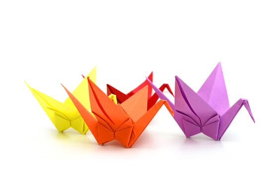 A group of colorful origami paper birds