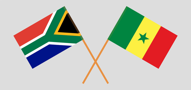 Crossed flags of Republic of South Africa and Senegal