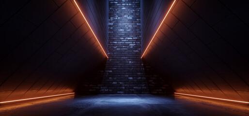 Sci Fi Alien Spaceship Neon Glowing Brick Line Orange Blue Cement Asphalt Glossy Hallway  Tunnel Corridor Cyber Modern Hangar Warehouse 3D Rendering