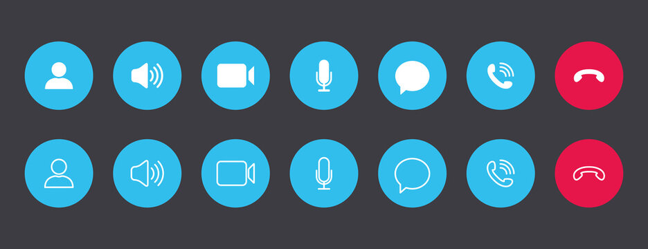 Set of video call icons. Collections white buttons for online video conference on blue circle. Vector