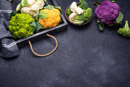 Purple, yellow, white and green color cauliflowers